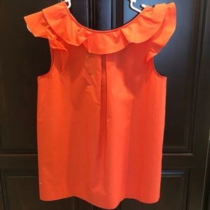 J. Crew Top with flutter neck and sleeves